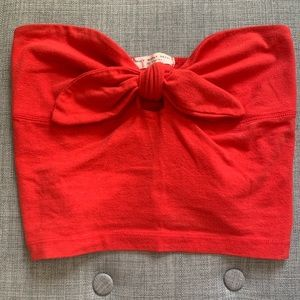 Red cropped tube top from urban outfitters.